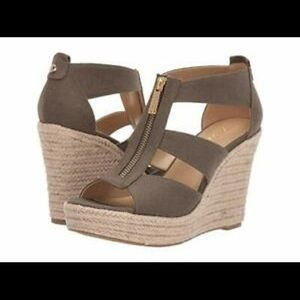 New Michael Kors Damita Olive Canvas Wedge